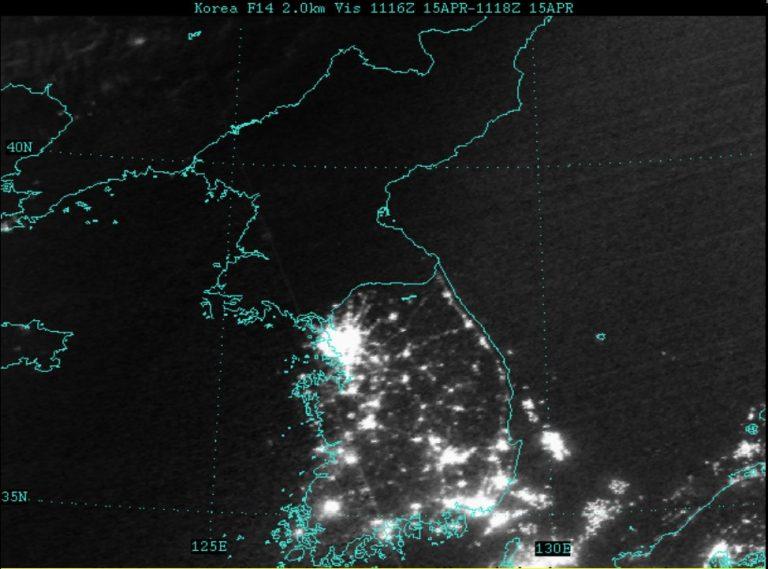 Foto satelit malam hari korea utara dan korea selatan