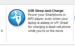 Fitur USB Sleep & Charge