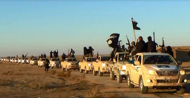 "Image: ISIS began its invasion into Iraqi territory from NATO-member Turkey, through Syria and riding in Toyota Hilux trucks – identical to those provided to ""moderates"" by the US State Department as part of multi-million dollar ""non-lethal"" aid packages. ISIS did not take these trucks from ""moderates,"" the moderates never existed to begin with. From the beginning, it was the West's plan to raise a mercenary army of sectarian extremists operating under the banner of Al Qaeda."
