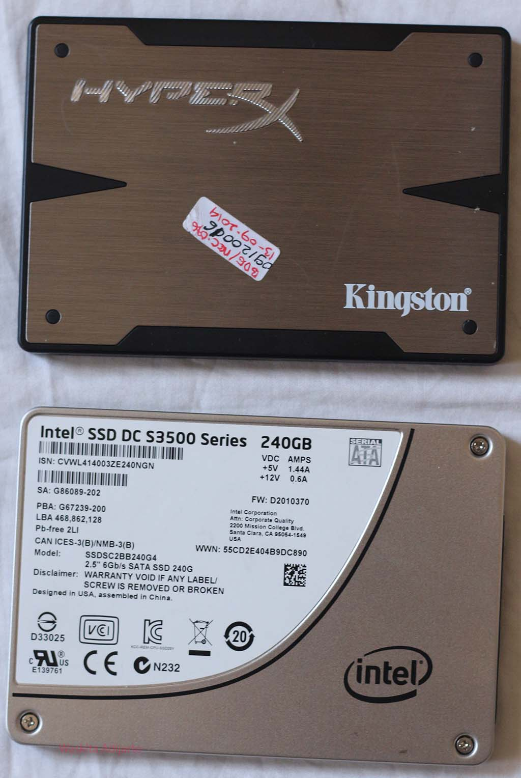 SSD Kingston HyperX dan Intel DC 3500 240 GB