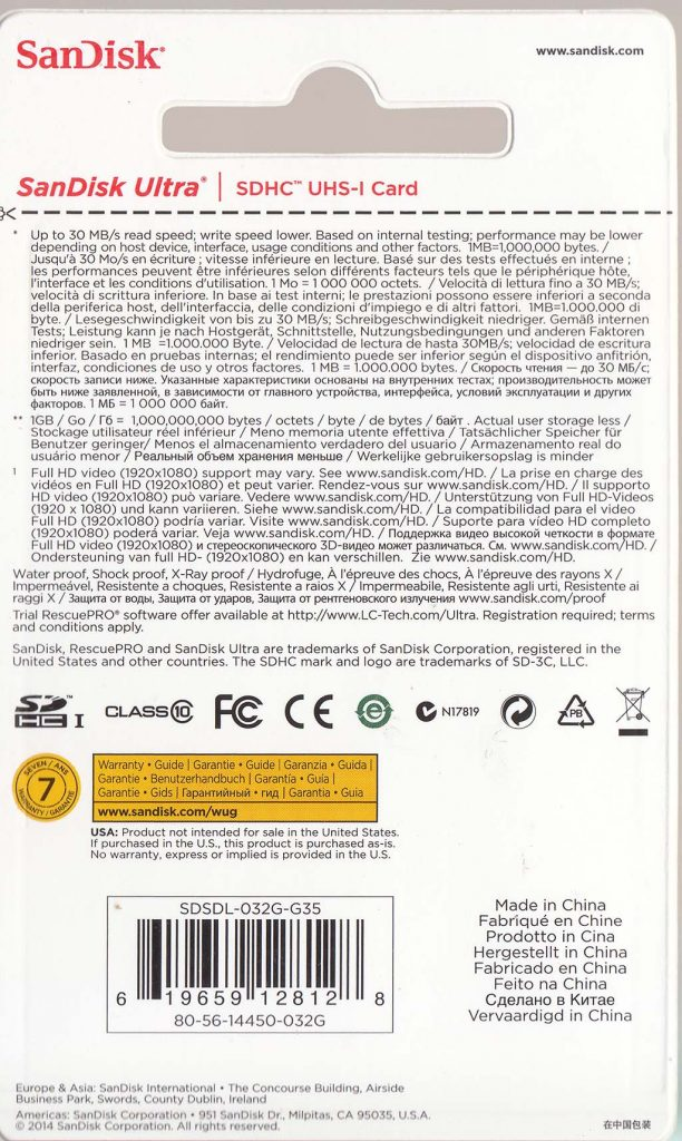 Kemasan SanDisk 32GB bagian belakang