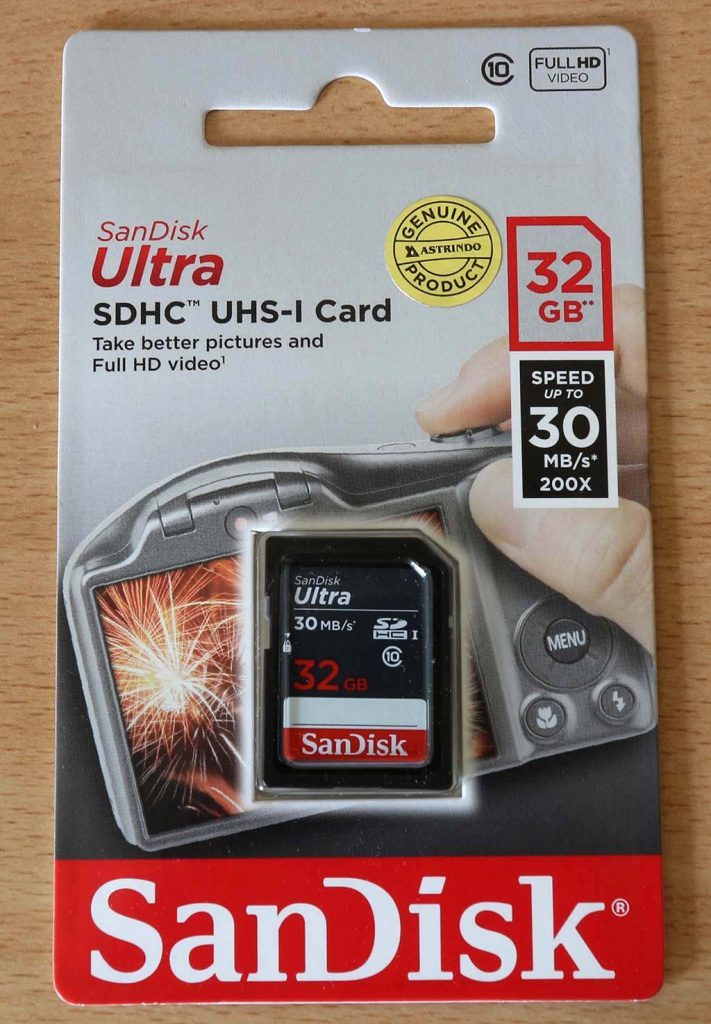 Kemasan SanDisk 32GB bagian depan