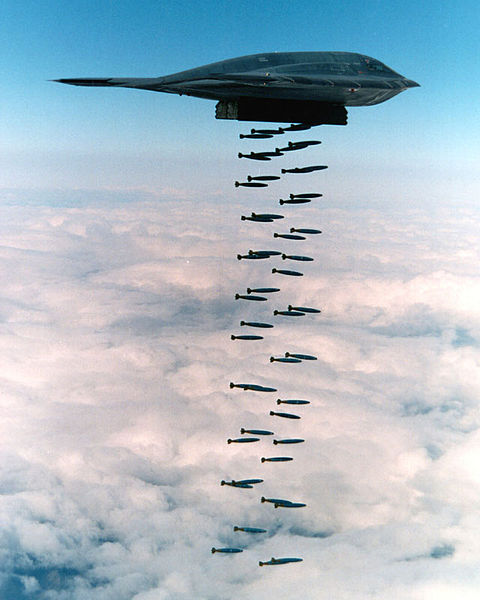 A B-2 Spirit dropping Mk.82 bombs into the Pacific Ocean in a 1994 training exercise off Point Mugu, California, near Point Mugu State Park.
