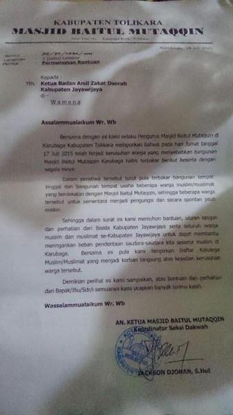 Surat pengurs masjid Baitul Muttaqin