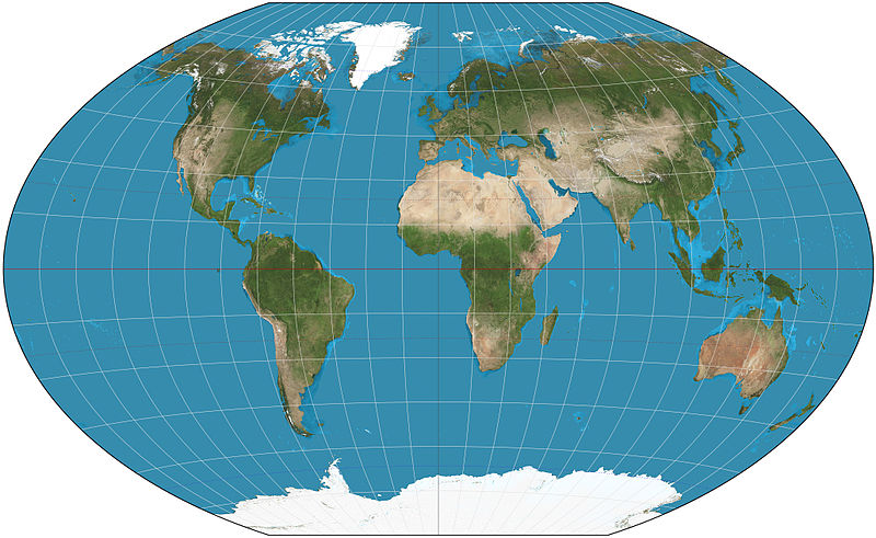Peta dunia dengan Winkel triple projection (Wikipedia)