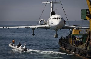 The jetliner of former Bulgarian dictator Todor Zhivkov is prepared to be submerged and turned into an underwater tourist attraction off the country's Black Sea coast in Varna on May 25, 2011. The body of the Tupolev 154 will become an artificial reef aimed at attracting scuba divers. The plane, built in 1971, was stripped of its cables and engines before being sunk at a depth of about 70 feet.