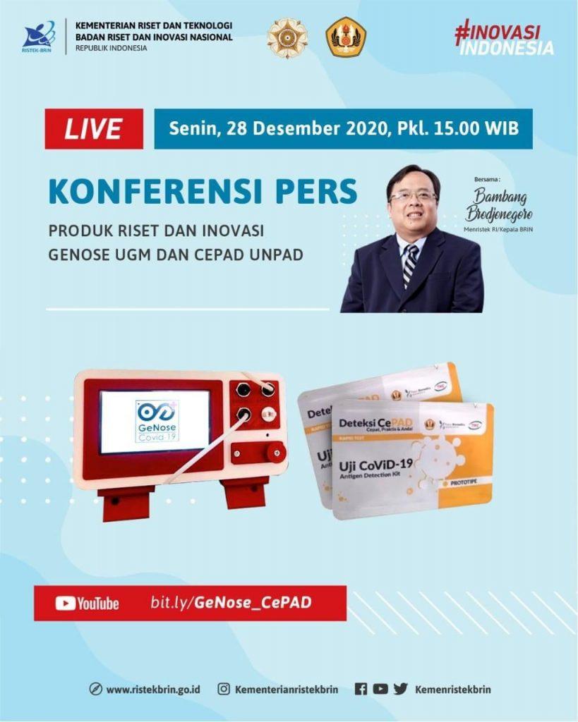 Konferensi Pers Produk  Riset dan Inovasi Genose UGM dan Cepad UJNPAD. Bersama Bambang Brodjonegoro, Menristek RI / Kepala BRIN.